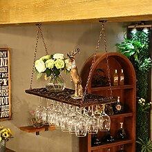 weingestell Rotwein-Rack Europäische-Stil Eisen hängen Tasse Inhaber Rotwein Rack umgedreht Weinregal hängen Weinglas Stand hohe Tasse Inhaber Wand hängende Bar Weinregale ( Farbe : Braun , größe : 60*31cm )