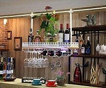 weingestell Rotwein Rack Skandinavischen Stil Weinregal Hängende Weinregal Dekoration Kreative Massivholz Weinregale Weinglas Racks Fond Cup Top Pendelleuchten Weinregale ( Farbe : Weiß , größe : 80*28cm )