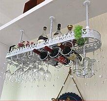 weingestell Wein Glashalter,Wein Glas Rack, Weinglas Hanger, Stemware Rack,Weinglas Rack Stemware Weinregale ( Farbe : Weiß , größe : 100*25*32cm )