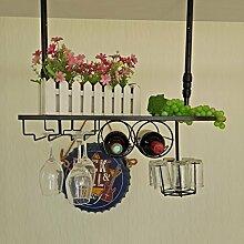 weingestell Wein Glashalter,Wein Glas Rack, Weinglas Hanger, Stemware Rack,Weinglas Rack Stemware Weinregale ( größe : 60*25cm )