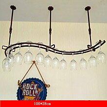 weingestell Wein Glashalter,Wein Glas Rack, Weinglas Hanger, Stemware Rack,Weinglas Rack Stemware Weinregale ( Farbe : Bronze , größe : 100*28cm )