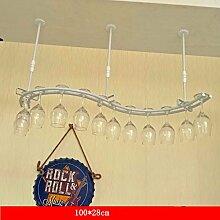 weingestell Wein Glashalter,Wein Glas Rack, Weinglas Hanger, Stemware Rack,Weinglas Rack Stemware Weinregale ( Farbe : Weiß , größe : 100*28cm )