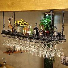 weingestell Weinglas-Gestell, Suspendierung kreatives Wein-Gestell, gedrehtes Eisen-Rotweinglas-Rahmen, Bar-Haushalts-Wein-Schalen-Halter Weinregale ( Farbe : Schwarz , größe : 100*35cm )