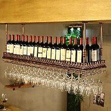 weingestell Weinglas-Gestell, Suspendierung kreatives Wein-Gestell, gedrehtes Eisen-Rotweinglas-Rahmen, Bar-Haushalts-Wein-Schalen-Halter Weinregale ( Farbe : Bronze , größe : 100*35cm )