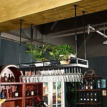 weingestell Weinglas-Gestell, Suspendierung kreatives Wein-Gestell, gedrehtes Eisen-Rotweinglas-Rahmen, Bar-Haushalts-Wein-Schalen-Halter Weinregale ( Farbe : Schwarz , größe : 50*35cm )