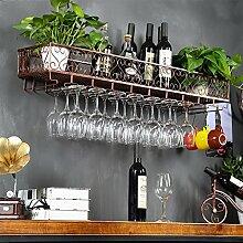 weingestell Weinglas-Gestell, Suspendierung kreatives Wein-Gestell, gedrehtes Eisen-Rotweinglas-Rahmen, Bar-Haushalts-Wein-Schalen-Halter Weinregale ( Farbe : Bronze , größe : 100*25*17CM )