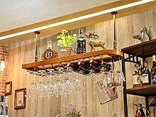 weingestell Weinregal Massivholz Weinregal hängen Rotwein Rack umgedreht Rotwein Glashalter Europäische Weinglas Halter hängen hohe Tasse Inhaber Weinregal Weinregale (Farbe : A, größe : 100*28cm)
