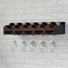 weingestell Weinregale Massivholz Rotwein Racks Wand hängt Weinglas Rahmen Hängen Upside Down Holzhaken Wein Display Rack Hanging Cup Holder Racks Wein Inhaber Weinregale ( Farbe : Braun )
