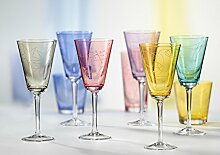 Weingläser Kristall Original Bohemia -- 6 x 240 ml - Model Jive (Weinglas 6 x 240 ml, gelb)