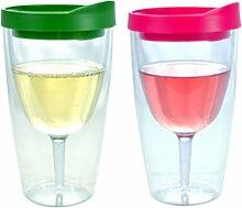 Weingläser mit Verschlusskappe zum Umklappen - 10oz isolierende Doppelwand VINO aus Acryl mit Pink sowie Verde Trinköffnung im Deckel - Wein 2go!