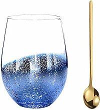 Weingläser ohne Stiel, Sternenhimmel-Motiv,