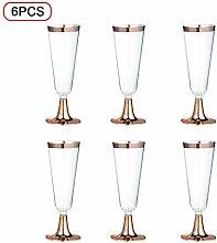 Weinglas 6Pcs Einweg-Kunststoff-Trinkbecher