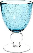 Weinglas aus Bläschenglas, blau
