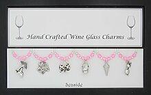 Weinglas-Charms Set Mottoparty am Meer, 6handgefertigt Pale Pink