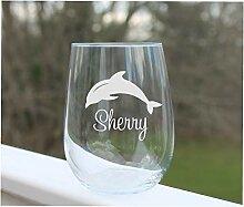 Weinglas Delfin, ohne Stiel, personalisierbar