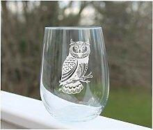 Weinglas Eulen-Design ohne Stiel, geätzt, ohne