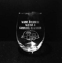 Weinglas, geätzt, Campinggeschenk,