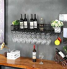 Weinglas-Gestell, Suspendierung kreatives Wein-Gestell, gedrehtes Eisen-Rotweinglas-Rahmen, Bar-Haushalts-Wein-Schalen-Halter ( Farbe : Schwarz , größe : 60*25*17CM )