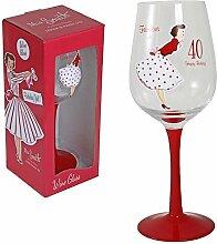 """Weinglas, glamourös, mit Aufschrift """"Fabulous at 40 / Happy Birthday"""", rot, Weinglas mit Vintage-Artwork in Geschenkbox"""