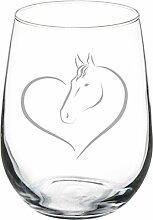 Weinglas Goblet Herz Pferd 17 oz Stemless glas