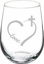 Weinglas Goblet Love Herz Kreuz Christian (11Oz