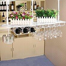 Weinglas-Halter-Eisen-hängender Becher-Halter umgedrehtes Wein-Gestell-hängender Glashalter-Bar-Gegenhochglas-Halter ( Farbe : Weiß , größe : 100*25cm )