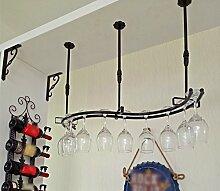Weinglas-Halter, hängend auf dem Kopf stehendes Weinregal, hängender Weinkühler, Weinglas-Halter im Wohnzimmer, Weinregal ( Farbe : Schwarz , größe : 82*23cm )