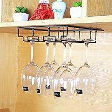 Weinglas-Halter, Haushalts Glashalter auf den Kopf, Wein Glashalter auf den Kopf, europäischen Weinregal, Wein Getränkehalter ( Farbe : Schwarz , größe : 31*22.5*6cm )