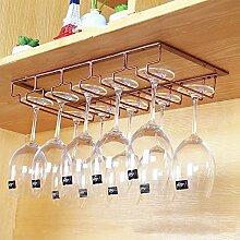 Weinglas-Halter, Haushalts Glashalter auf den Kopf, Wein Glashalter auf den Kopf, europäischen Weinregal, Wein Getränkehalter ( Farbe : Bronze , größe : 51*22.5*6cm )