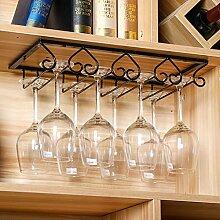 Weinglas Halter, Metall Schwarz Unter Kabinett