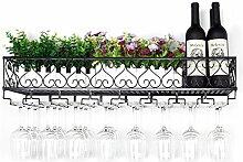 Weinglas Halter Upside Down Becher Rack Haushalt Dekoration Weinregal Hängen Becherhalter Weinglas Halter , Schwarz , 50*25cm