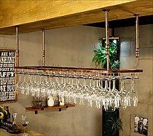 Weinglas Halter, Vintage Weinglas Rack Schmiedeeisen Weinglas Halter, hängende Weinregal Champagnerglas Halter -Weinglasgestell (Farbe : Braun, größe : 90*40cm)