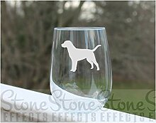 Weinglas in Form eines Hundes geätztes Stielloses