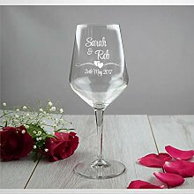 Weinglas mit Braut und Bräutigam, mundgeblasene