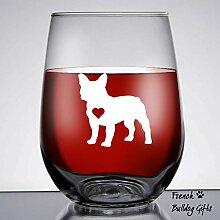 Weinglas mit französischer Bulldogge, groß, 43,2