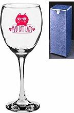 Weinglas mit Gravur, Motiv Mad Cat Lady Engrave A