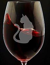Weinglas mit Katzenmotiv für Katzenliebhaber,