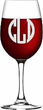 Weinglas mit Monogramm-Gravur, mit Stiel