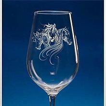 Weinglas mit Pferde-Motiv, mundgeblasen, bedruckte