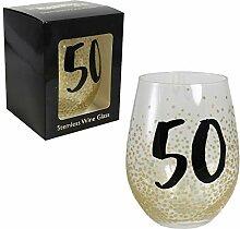 Weinglas mit Stiel, Schwarz/goldfarben