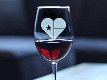 Weinglas mit Texas-Flagge in Herzform, süßes