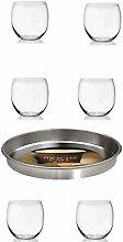 Weinglas ohne Stiel 6er Set klar 450ml Tablett