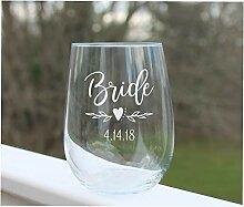 Weinglas ohne Stiel, Braut ohne Stiel, Brautparty