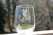Weinglas ohne Stiel, Eulen-Design