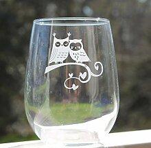 Weinglas ohne Stiel, geätzt, Eulen-Design