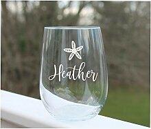 Weinglas ohne Stiel, geätzt, für Strand,