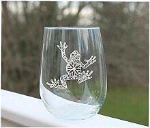 Weinglas ohne Stiel, geätzt, mit