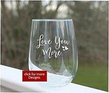 Weinglas ohne Stiel, geätzt, personalisierbar