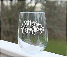 Weinglas ohne Stiel, geätzt, weihnachtliches