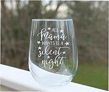 Weinglas ohne Stiel, geätzt, witziges Weinglas